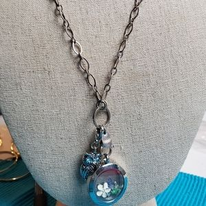 Origami Owl Living Locket with charm Necklace.